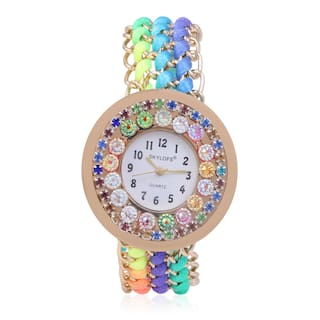 Skylofts Multicolor Fabric Style Strap Diamond Dial Bracelet Watch For Women - Ladies watches