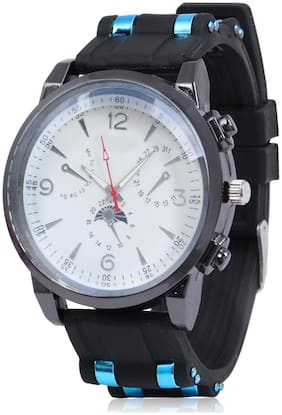Skylofts Stud Silicon Strap White Dial Men & Boys Watch- Blue Studs