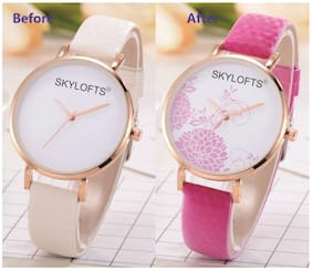 Skylofts UV Solar Light Pattern Changing Floral Magical Watch for Girls