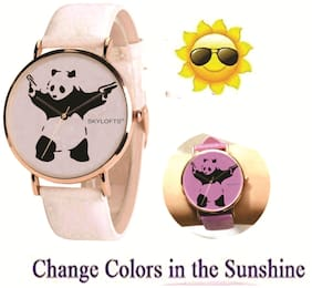 Skylofts UV Solar Light Pattern Changing Panda Dial Magical Watch for Girls