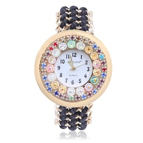 Skylofts White Fabric Style Strap Diamond Dial Bracelet watches for ladies