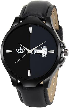 SMAEL Exclusive Series Quartz Movement Leather Strap Day & Date Black Dial Analogue Men's Watch (CSM140)