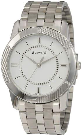 Sonata Analog White Dial Men's Watch -NK7100SM03