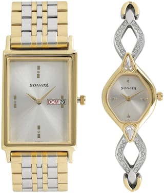 Sonata Analog Pair Watches with Day & Date Function