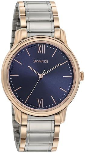 Sonata Beyond Gold Blue Dial Analog Watch for Men