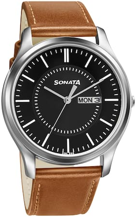 Sonata Essential 77082SL08W Black Analog Watches For Men