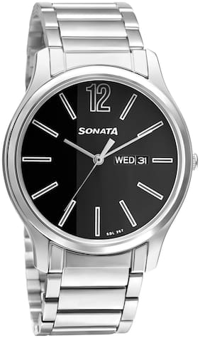 Sonata Essential 77082SM03W Black Analog Watches For Men