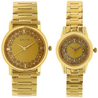 Sonata Golden Dial Analog Pair Watches