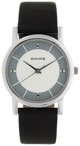 Sonata Men Silver Analog Watch - NJ7987SL01W
