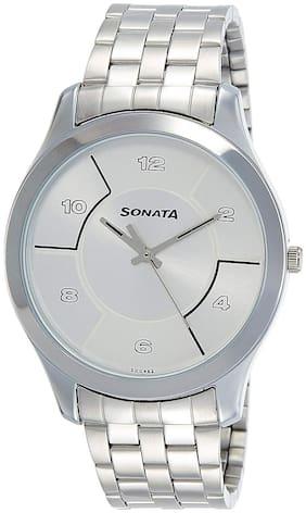 sonata Silver Stainless Steel Analog Watch men
