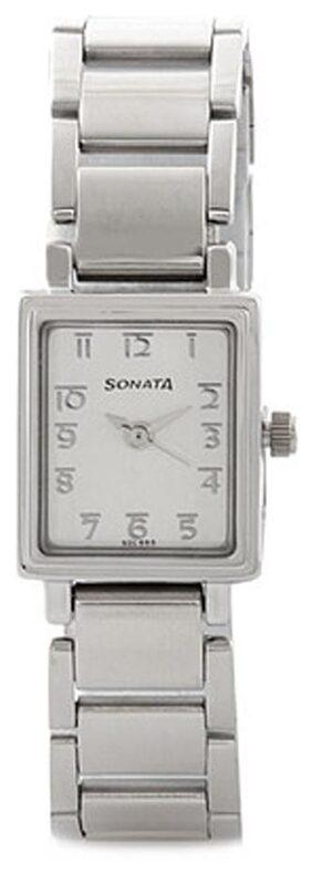 Sonata Women Rectangle Silver Analog Watch-8080SM02