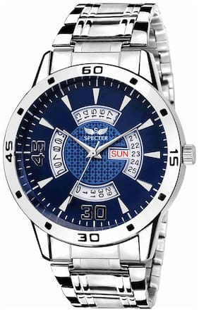 Spectre Stylish Stainless Steel Blue Dial Premium Day And Date Wrist Watch For Men And Boys