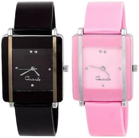 SQUARE DIAL PINK BLACK COMBO FOR YOUR FASHION Watch