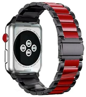 Stainless Steel Strap Metal Band For Apple Watch Series1 2 3 4 5 black&red