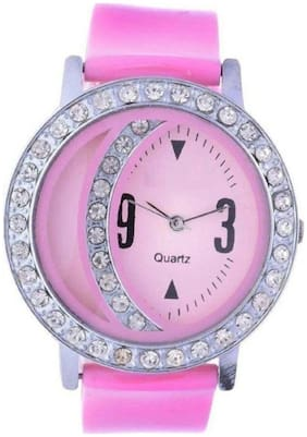 Stuff New Arrival Diamond Studded pink Color Watch