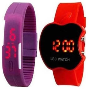 stvk_purple colour led watch&red colour apple shaped led watch