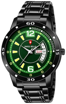 Svviss Bells - Day and Date Black Dial Green Dial Stainless Steel Chain Men's Watch (ASB-11)
