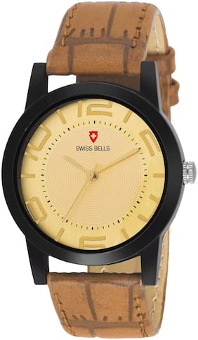 Svviss Bells Original Gold Dial Brown Leather Strap Analog Wrist Watch for Men - SB-1082