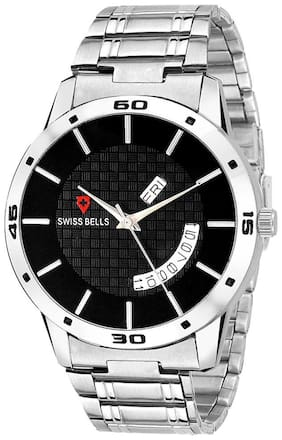Svviss Bells Original Black Dial Silver Steel Chain Day and Date Multifunction Chronograph Wrist Watch for Men - SB-1025