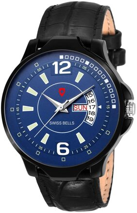 Svviss Bells Original Day and Date Blue Dial Black Strap Multifunction Analog Watch for Men - SB-1097