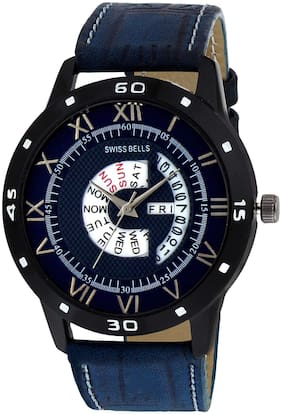 Svviss Bells Day and Date Blue Dial Blue Leather Strap Multifunction Analog Wrist Watch for Men - SB-1059