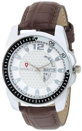 Svviss Bells Original White Dial Brown Leather Strap Day and Date Chronograph Multifunction Wrist Watch for Men - SB-973