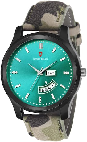 Svviss Bells Day and Date Green Dial Green Leather Strap Multifunction Analog Wrist Watch for Men - SB-1078