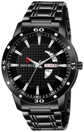 Svviss Bells - Day and Date Black Dial Black Stainless Steel Chain Men's Watch (ASB-10)