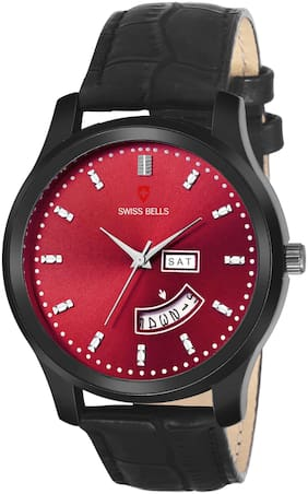 Svviss Bells Day and Date Red Dial Red Leather Strap Multifunction Analog Wrist Watch for Men - SB-1079