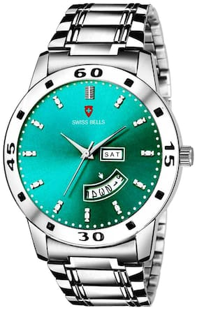 Svviss Bells Day and Date Turquoise Dial Silver Steel Chain Multifunction Analog Wrist Watch for Men - SB-1084