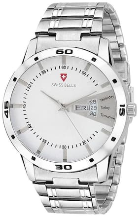 Svviss Bells Original White Dial Silver Steel Chain Day and Date Multifunction Chronograph Wrist Watch for Men - SB-1029