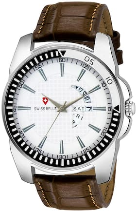 Svviss Bells Original White Dial Brown Leather Strap Day and Date Chronograph Multifunction Wrist Watch for Men - SB-972