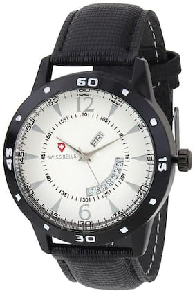 Svviss Bells Original White Dial Black Leather Strap Day and Date Chronograph Multifunction Wrist Watch for Men - SB-963