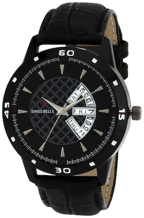 Svviss Bells Original Black Dial Black Leather Strap Day and Date Chronograph Multifunction Wrist Watch for Men - SB-966