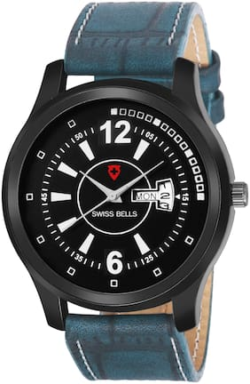 Svviss Bells Day and Date Black Dial Blue Leather Strap Multifunction
