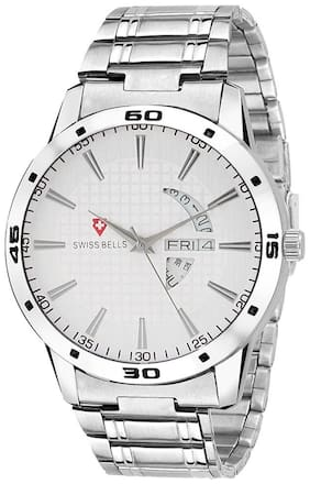 Svviss Bells Original White Dial Silver Steel Chain Day and Date Multifunction Chronograph Wrist Watch for Men - SB-1015
