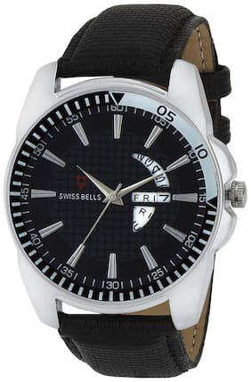 Svviss Bells Original Black Dial Black Leather Strap Day and Date Multifunction Chronograph Wrist Watch for Men - SB-982