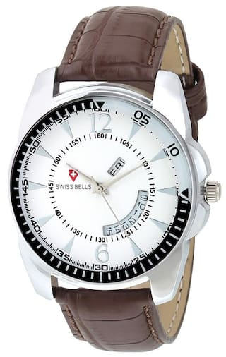 Svviss Bells Original White Dial Brown Leather Strap Day and Date Chronograph Multifunction Wrist Watch for Men - SB-975