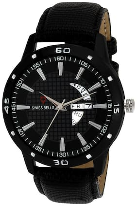 Svviss Bells Original Black Dial Black Leather Strap Day and Date Chronograph Multifunction Wrist Watch for Men - SB-964