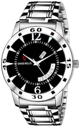Svviss Bells Original Black Dial Silver Steel Chain Day and Date Multifunction Chronograph Wrist Watch for Men - SB-1017