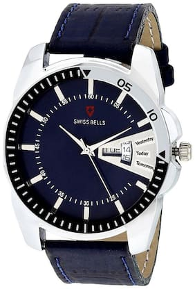 Svviss Bells Original Blue Dial Blue Leather Strap Day and Date Multifunction Analog Wrist Watch for Men - TA-1006