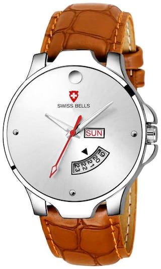 Svviss Bells Original White Dial Tan Brown Leather Strap Day and Date Multifunction Chronograph Wrist Watch for Men - SB-1035
