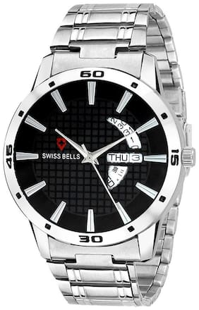Svviss Bells Original Black Dial Silver Steel Chain Day and Date Multifunction Chronograph Wrist Watch for Men - SB-1013
