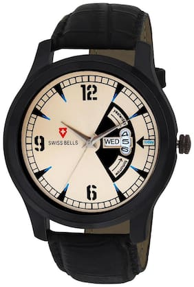 Svviss Bells Original Cream Dial Black Leather Strap Day and Date Multifunction Chronograph Wrist Watch for Men - SB-1041