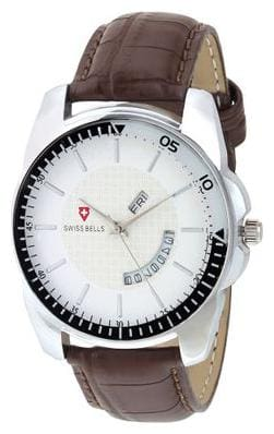 Svviss Bells Original White Dial Brown Leather Strap Day and Date Multifunction Analog Wrist Watch for Men - TA-974