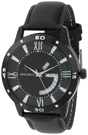 Svviss Bells Original Black Dial Black Leather Strap Day and Date Chronograph Multifunction Wrist Watch for Men - SB-965