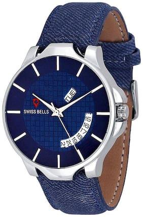 Svviss Bells Original Blue Dial Blue Leather Strap Day and Date Multifunction Chronograph Wrist Watch for Men - SB-1049