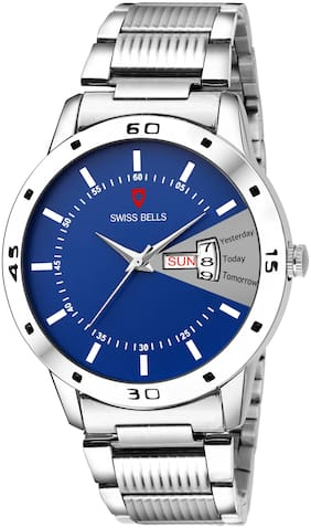 Svviss Bells - Day and Date Multifunction Watch With Blue Dial Silver Steel Chain for Men - TA-1011