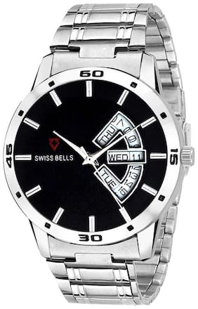 Svviss Bells Original Black Dial Silver Steel Chain Day and Date Multifunction Chronograph Wrist Watch for Men - SB-1020