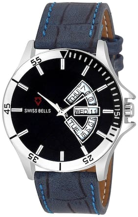 Svviss Bells Original Black Dial Blue Leather Strap Day and Date Multifunction Chronograph Wrist Watch for Men - SB-1050